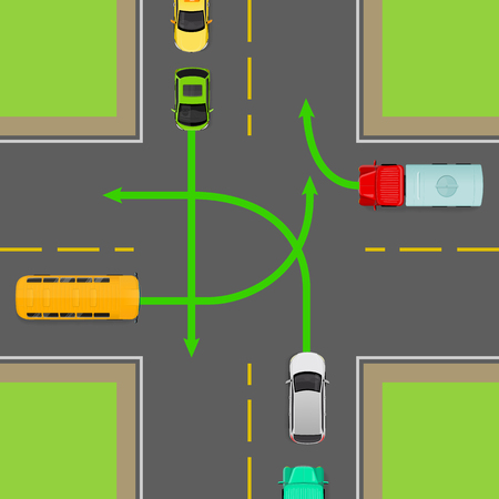 Turn rules on four-way intersection flat illustration. Road rule violation on top view diagram. Traffic offences concept. Danger of car accident. Driving theory lesson. For driving courses test
