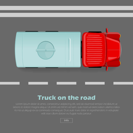 LKW auf der Straße konzeptionelle Web. LKW mit Tanker geht auf flache Illustration der Landstraße. Industrietransport und Stadtverkehrskonzept. Für die Erstellung von Landing Page eines Gebäude- oder Transportunternehmens Standard-Bild - 72890185