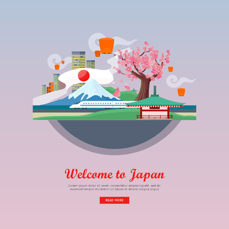 asia style: Welcome to Japan concept web . Flat style . Vacation in Asia. Illustration with city landscape, mount Fuji, air lanterns, sakura, pagoda, train. For travel company landing page design