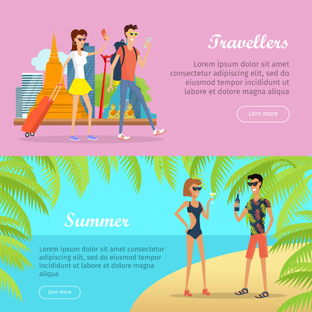 couple in summer: Travellers and summer poster banner. People on vacation in Thailand with mobile devices. Couple with luggage going on rest. Couple drinking tasty cocktail beverages. illustration