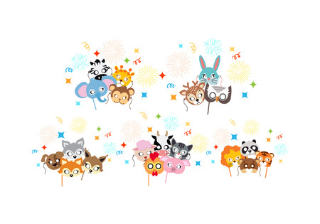 rejoicing: Animal Carnival. Collection of Cartoon Masks.