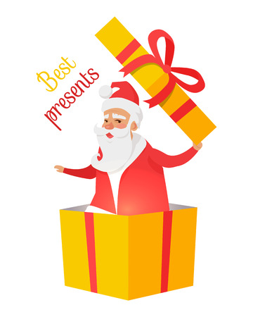 Best Presents from Santa Claus on White Background