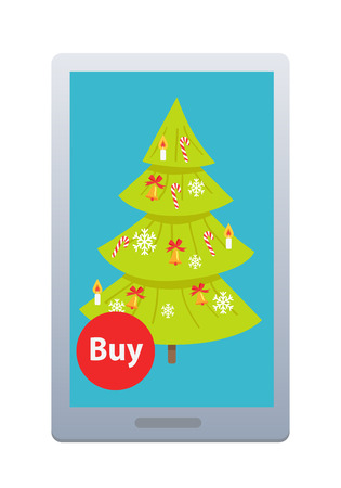 Buying Nice Fir Tree Online on White Background