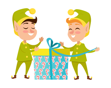 Two Happy Elves with Present on White Background Illustration