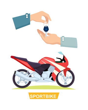 Hand Passing Key. Process of Buying Sportbike Illustration
