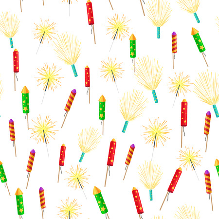 Seamless Pattern with Rockets Sparklers Fireworks