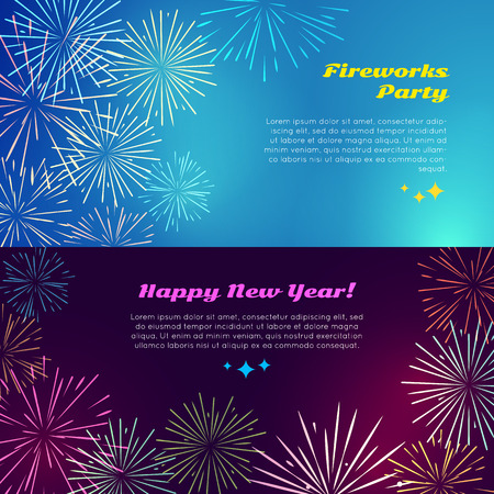 new year party: Happy New Year. Fireworks Party. Salute Elements. Illustration