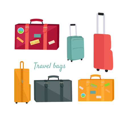 front loading: Set of Travel Suitcases and Bags Illustrations