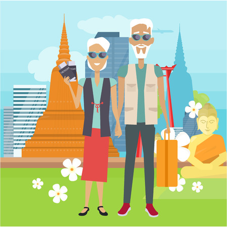 Travel in Old Age Vector Concept in Flat Design