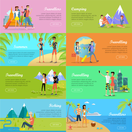 hot couple: Set of People on Vacation Vector Flat Web Banners