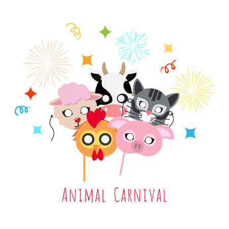 Childish Animal Masks. Cock, Pig, Cow, Sheep, Cat. Illustration