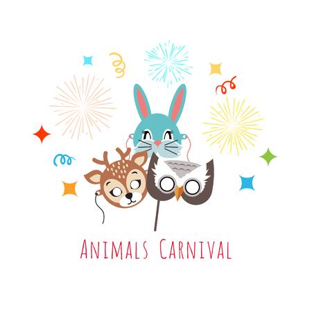 gladness: Masks for Animal Carnival. Deer, Rabbit, Owl