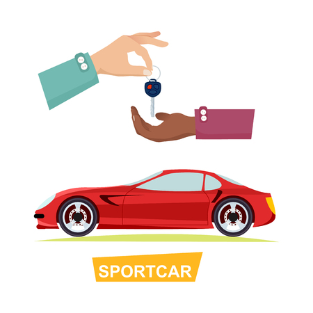 Hand Passing Key. Process of Buying Sportbike Иллюстрация