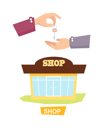 renting: Hand Passing Key. Process of Buying, Renting Shop