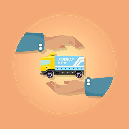 Blue Large Truck with Emblem on Orange Background Illustration