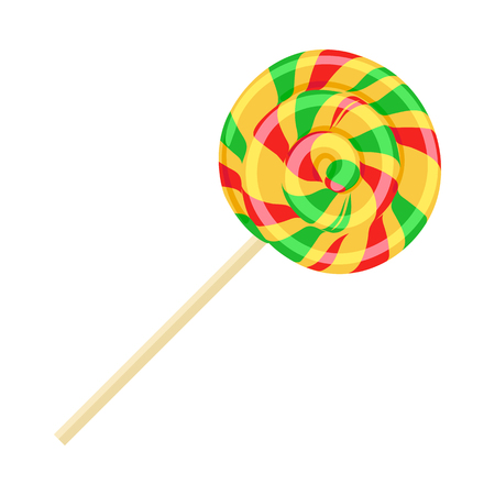 Caramel Striped Candy on Stick Isolated. Funny Sweet Illustration