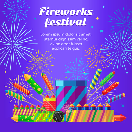 Organization of Fireworks Festival. Pyrotechnic Set
