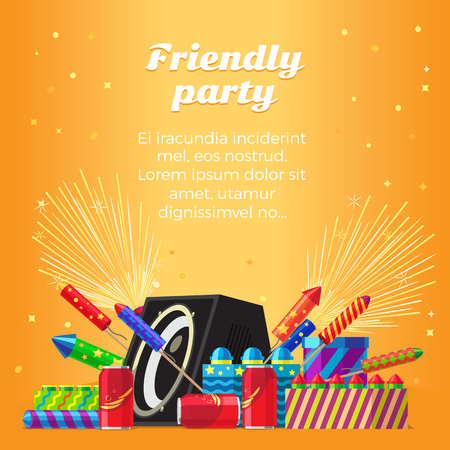Friendly Party Banner. Fireworks for Festivals
