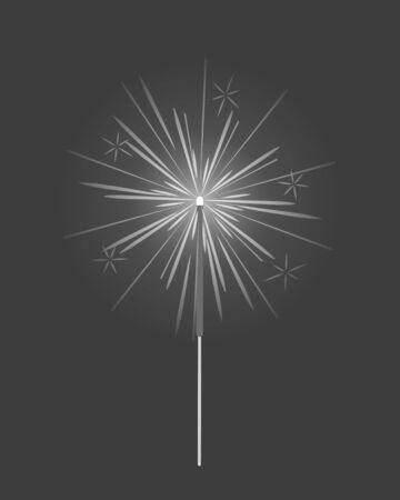 Bengal Light, Fire, Firework Sparkler Isolated Illustration