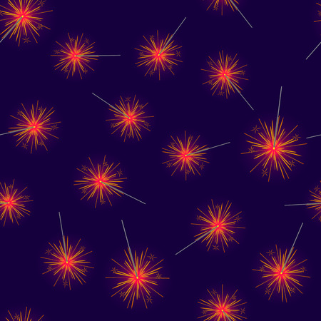 Seamless Pattern of Red Fireworks on Dark Blue