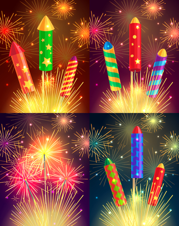 Colourful Exploding Rockets on Bright Background Illustration