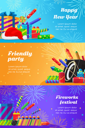 new year party: Happy New Year. Fireworks Festival and Party.