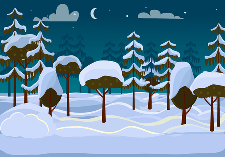 snow forest: Forest. Evening. Different Trees Covered with Snow Illustration