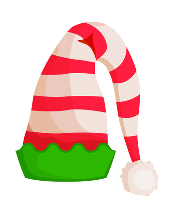 Elf Striped Hat with Green Wavy Trim Isolated