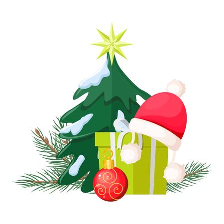 stuff toy: Christmas Tree near Present Box and Santa Cap