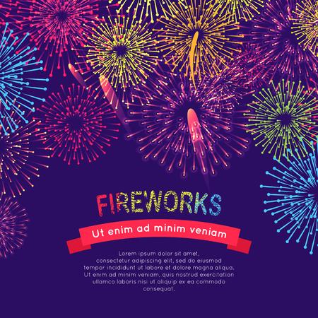 occassion: Fireworks Web Banner on Blue. Burst of Salute