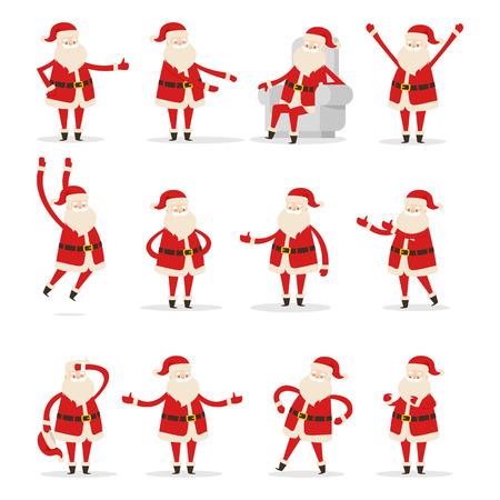 Different Santa s Movements on White Background Illustration