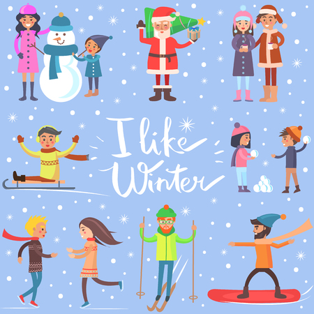 I Like Winter Poster with Sportive Happy People