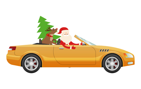 Santa Claus Drive on Cute Luxury Car with Reindeer Illustration