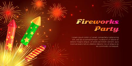 Organization of Fireworks Party. Pyrotechnic Set Illustration