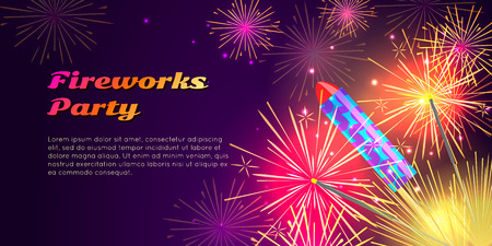 blowup: Colourful Exploding Rockets on Bright Background Illustration