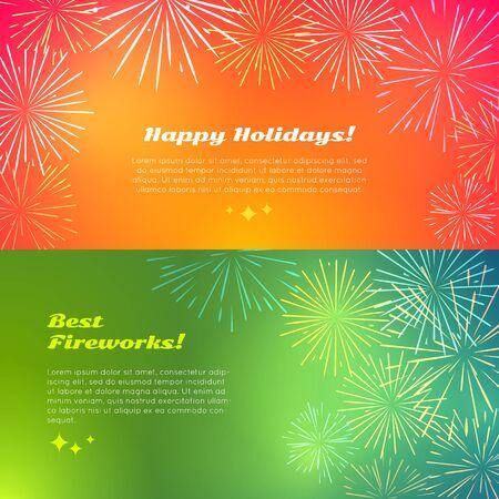 banger: Happy Holidays. Best Fireworks. Salute Elements.