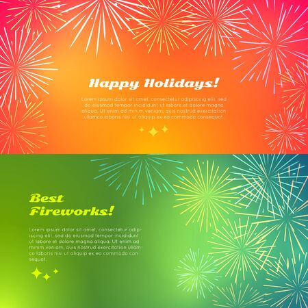 Happy Holidays. Best Fireworks. Salute Elements.