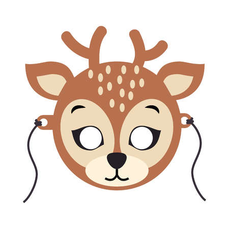 Deer Carnival Mask. Spotted Reindear with Horns