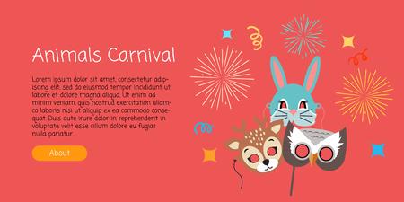Masks for Animal Carnival. Deer, Rabbit, Owl