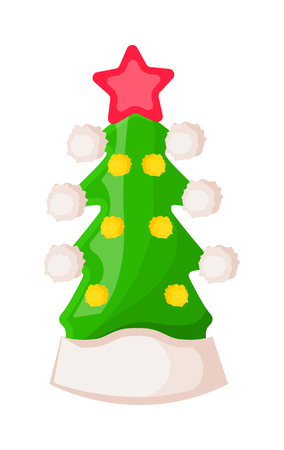Santa Claus Hat in Form of Green Christmas Tree