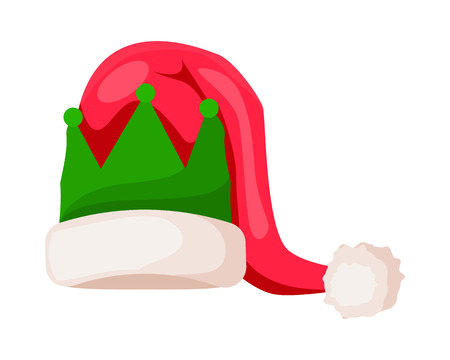 Santa Claus Hat with Green Crown Isolated on White