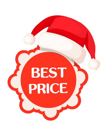 Best Price Round Tag in Red Sign and Santa Hat