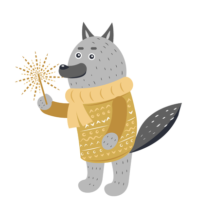 Grey Wolf in Warm Yellow Sweater with Sparkler Illustration