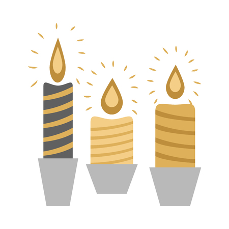 Three Burning Candles in Racks Isolated on White Illustration