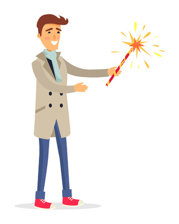 Isolated man in Beige Coat Holds Fireworks Device