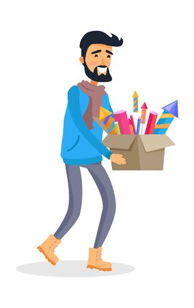 carries: Man in Sportswear Carries Carton Box of Fireworks