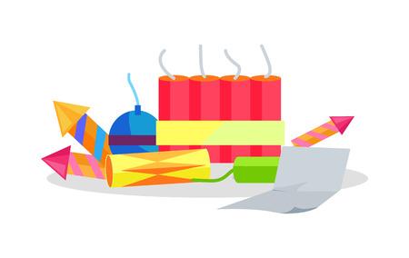 Set of Cartoon Fireworks and Paper Instruction Illustration
