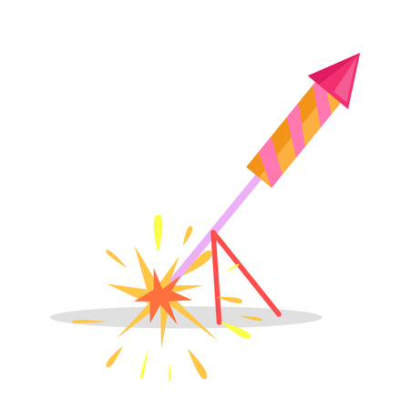 Christmas Firework Rocket Isolated Icon on Stand