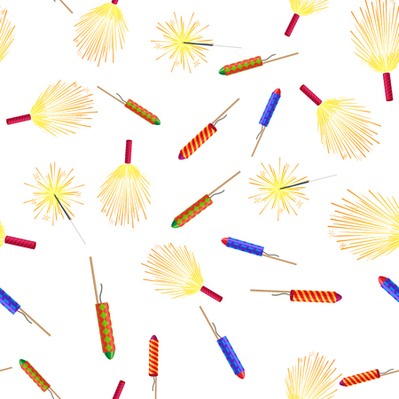 bengal fire: Seamless Pattern with Rockets Sparklers Fireworks