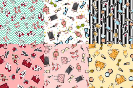 Big Set of Fashion Objects Seamless Pattern Ilustração